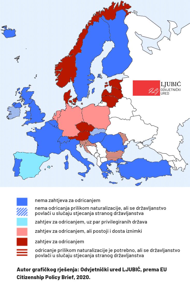 Pregled zahtjeva za ispis iz državljanstva BiH prema zemljama prijema u državljanstvo EU